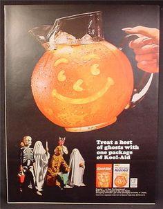 Halloween 1964 - Magazine Ad For Kool-Aid, New Pre-Sweetened, Kids in Halloween Costumes.  #Halloween #kids #koolaid #costumes #magazine #ad #vintage #retro #1964 #sixties #50years