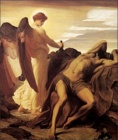 """""""Elijah in the Wilderness"""" Leighton, 1878. 