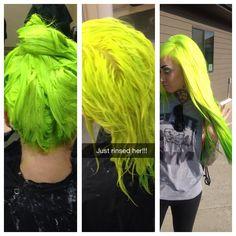Neon yellow green hair I did using manic panic