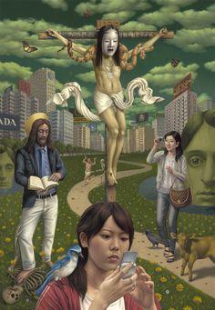 Alex Gross  Mammon    oil on canvas    78 x 54 inches (198.12 x 137.16 cm)