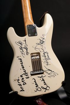 1985 Fender Stratocaster built by the Fender Custom Shop. Only one of six made, this guitar is an exact duplicate of the guitar played by Jimi Hendrix at Woodstock right down to the strap.
