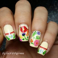 Sweet is one word to describe these nails inspired by Mexican embroidery by Cyn DeRella of kolormekarma.