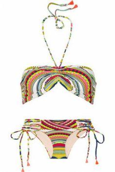 Ganesh printed bikini by Mara Hoffman Mara Hoffman, Swimsuits, Bikinis, Swimwear, Halterneck Bikini, Polka Dot Bikini, Maria Black, Beach Wear, Beach Bum