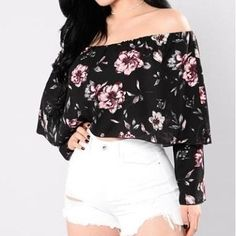 This off the shoulder floral top is definitely off the hook. Enough with all the dark winter colors. It's time to brighten up your closet. Spring is here, time to make colorful memories. Bell Sleeves Floral Print 100% Polyester