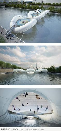 """OHMYGOSH I want to go here. Need to go back to Paris. Not just any bridge, """"A Bridge in Paris"""" is exactly as it sounds, a trampoline-based structure that lets you hop over the water. Oh The Places You'll Go, Places To Travel, Places To Visit, Dream Vacations, Vacation Spots, France 3, Paris France, I Want To Travel, Future Travel"""