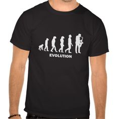 Saxophone Evolution T-shirt Design - many styles and colours, both men's and lady's / women's (t-shirts, tee, tees, t shirt, tshirt, creative, cool, graphic, style, text, humour, funny, humorous, hilarious, origin of species, music, player, playing, black and white)