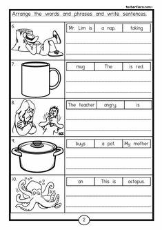 Kids English, English Reading, English Writing, English Study, English Lessons, Learn English, English Worksheets For Kids, 1st Grade Worksheets, English Activities