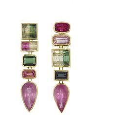 Retrouvaí One-Of-A-Kind Pink And Green Pear Gypsie Earrings ($5,595) ❤ liked on Polyvore featuring jewelry, earrings, teardrop earrings, gypsy jewellery, drop earrings, long drop earrings and pink teardrop earrings