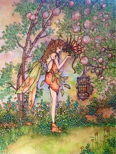 """Making a new friend....by Memory Howell """"Fairies of Memory"""" on Face Book © 2014"""