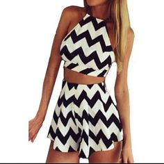 Two piece chevron outfit! Brand new two piece outfit, cute crop top with a mini skort (skirt with built in shorts). Chiffon material.  Black and white chevron pattern.  Size medium Other