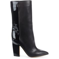VALENTINO GARAVANI Leather Mid-Calf Boots featuring polyvore, women's fashion, shoes, boots, pointy-toe boots, slip on leather boots, pull on boots, mid calf leather boots and black leather boots