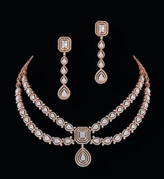 Diamond Earrings Indian, Indian Jewelry Earrings, Diamond Necklace Set, Diamond Jewellery, Wholesale Gold Jewelry, Small Necklace, Antique Necklace, Stylish Jewelry, Jewelry Design