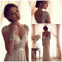 Real Images !Luxury Anna Campbell Lace Cap Sleeve Open Back Prom Dresses V Neck With Beading Multi-Colors $169.00