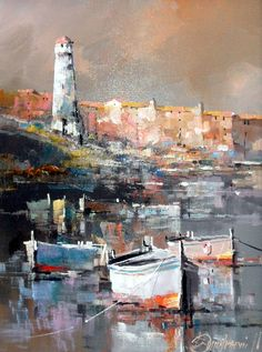 Branko Dimitrijevic, Lighthouse, Oil on canvas, 40x30cm