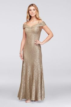 This sleek, stretch-lace mermaid dress glitters under the lights of the dance floor, as a cuffed cold-shoulder neckline creates a stunning focal point. By R&M Richards Polyester, spandex Back Mermaid Trumpet Wedding Dresses, Mermaid Gown, Lace Mermaid, Mermaid Dresses, Mother Of The Bride Dresses Long, Mothers Dresses, Mob Dresses, Lace Bridesmaid Dresses, Bridesmaids