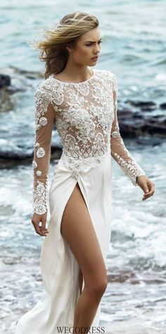 38 Striking Wedding Dresses with Slit
