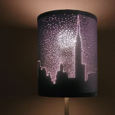 Poke dots in a lampshade