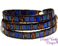 Tila Wrap Bracelet, Tila Beads Bracelet, Leather Wrap Bracelet, Beaded Leather Wrist Wrap, Brown Leather Bracelet with Blue Beads
