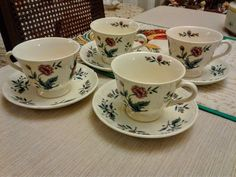 Williamsburg Potpourri Of Etruria Wedgwood Made in England 4 Cup & Saucer #Wedgwood #QueensWare