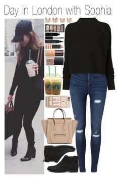 """#Day in London with Sophia"" by didi-horan ❤ liked on Polyvore featuring Miss Selfridge, Casetify, Victoria Beckham, Steve Madden, Maison Margiela, H&M, Vincent Longo, CARGO, Topshop and Laura Mercier"