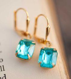 Turquoise Earrings Teal Seafoam Vintage Jewelry  by NotOneSparrow, $22.00