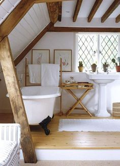 Are you planning to remodel your Bathroom with Attic Design ? Look at our Beautiful Bathroom Attic Design Ideas & Pictures for more inspiration. Attic Bathroom, Attic Rooms, Relaxing Bathroom, Attic Apartment, Attic Playroom, Relaxing Room, Barn Bathroom, Apartment Entrance, Concrete Bathroom