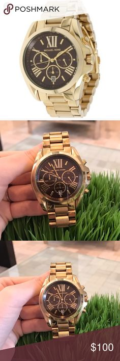 Michael Kors gold watch with brown face. Michael Kors gold watch with brown face. Comes with extra links. See pictures for wear and tear. All reasonable offers are welcome. Michael Kors Accessories Watches