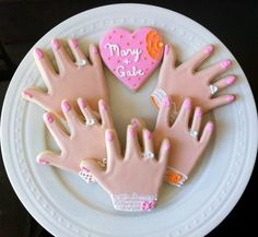 Decorated Engagement Ring Cookies with Personalized by peapodsnyc, $26.00