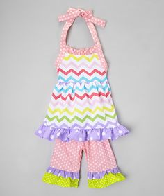 Another great find on #zulily! Rainbow Chevron Ruffle Top & Pants - Infant, Toddler & Girls #zulilyfinds