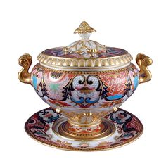 "Flight, Barr & Barr Porcelain Soup Tureen  with Cover & Stand, England circa 1815 - LENGTH: 11 1/4""  HEIGHT: 11"" -  James Robinson Inc., New York"