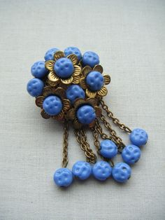 144 pcs Vintage Silk Thread Wrapped Craft Beads 10mm Round Blue Gray