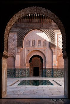 A patio in the Ben Youssef Medersa in Marrakech, Morocco.