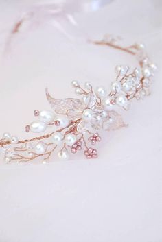 Rose Gold Wedding Hair Vine, Pearl Bridal Headpiece, Wedding hair piece, Wedding headpiece, Bridal Wreath, Flower Bridal Headpiece