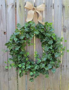 Spring Wreaths Summer Wreaths Ivy and Burlap Bow by HornsHandmade, $65.00