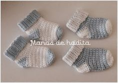 Manos de hadita: Calcetines de bebé a crochet Crochet Sock Monkeys, Crochet Baby Socks, Baby Afghan Crochet, Crochet For Boys, Crochet Clothes, Knit Crochet, Diy Crafts Crochet, Crochet Projects, Baby Booties Free Pattern