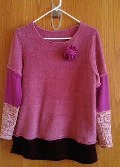 Refashioned Pink Shirt, so cozy...fleecey-velvety-lacy. Fabric Rose on pin-back. Women's Large. $25.00, via Etsy.