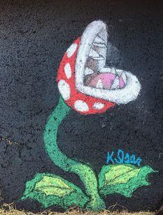 Mario Bros Piranha Plant - Chalk Art İdeas in 2019 Easy Chalk Drawings, Art Drawings, Tag Art, Chalk Design, Sidewalk Chalk Art, Decoration Originale, Chalkboard Art, Art And Architecture, Art Blog
