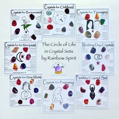 The Circle of Life - a perspective on a selection of our crystal sets, offering support through a woman's rites and passages Crystals For Luck, Crystals And Gemstones, Aries Birthstone, Rainbow Library, Crystal Shop, New Mums, Bereavement, Crystal Skull, Circle Of Life
