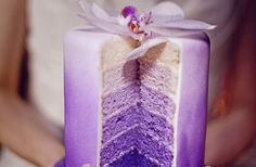 purple wedding cakes ombre with lavender decor