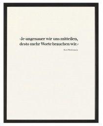 """Kurt Weidemann: """"Je ungenauer wir uns mitteilen, desto mehr Worte brauchen wir."""" Handsatz, Februar 2011, limitierte Auflage, Gedruckt auf Original Heidelberger Tiegel Schrift: Walbaum, 36'/12', hochwertiges Naturpapier"""