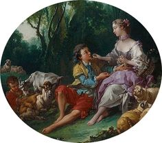 """Francois Boucher """"Pensent-ils au raisin?"""" or """" Are They Thinking About the Grape?"""" 1747 (Chicago Art Institute)"""