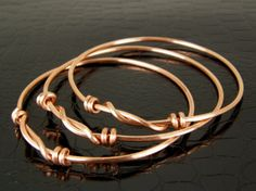 Twisted Knot Copper Wire Bangles SET of THREE by BonzerBeads, $21.00