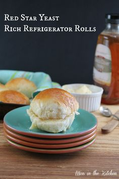Miss in the Kitchen ~ Red Star Yeast Rich Refrigerator Rolls with Honey Butter (sub egg) Refrigerator Rolls Recipe, Donuts, Bread Recipes, Cooking Recipes, Homemade Dinner Rolls, Homemade Breads, Think Food, Bread Rolls, Yeast Rolls