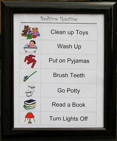 Bedtime Routine Frame going to put these in my kids rooms