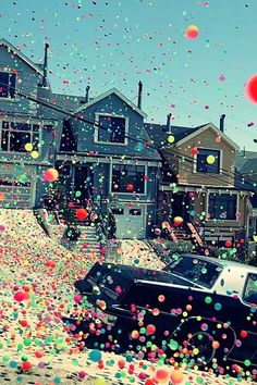 Thousands of bouncy balls released for an ad.