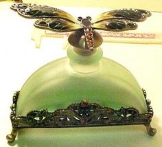 Vintage Dragonfly Green Frosted And Footed Perfume Bottle