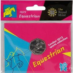 Price: $4.95 - Olympics The Royal Mint London 2012 Sports Collection Equestrian 50p Coin - TO ORDER, CLICK ON PHOTO