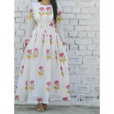Buy The Secret Label White Cotton Printed Kurti online Simple Kurti Designs, Kurta Designs Women, Blouse Designs, Printed Kurti Designs, Pakistani Dresses, Indian Dresses, Indian Outfits, Indian Designer Outfits, Designer Dresses