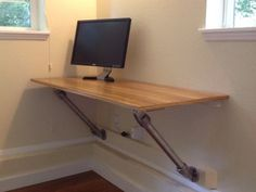 Wall Mounted Desk that uses Kee Lite aluminum fittings to support the desktop. Wall Mounted Computer Desk, Wall Desk, Ikea, Desks For Small Spaces, Small Apartments, Pipe Desk, Floating Desk, Desk Plans, Built In Desk