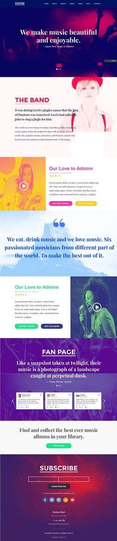 Duotone is beautiful #Webflow #Template for #Music & #Band Website. It comes with two version. One Page and Multi Page. Download Now!